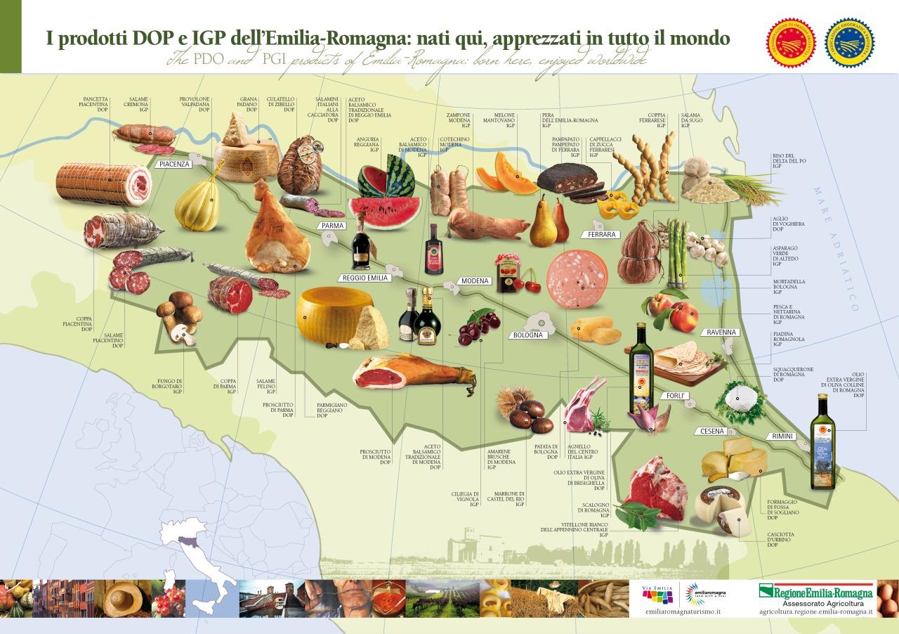 Mappa dei prodotti DOP e IGP dell'Emilia-Romagna