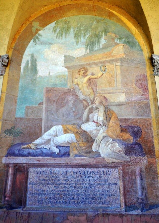 Chiostro III. Tomba del pittore bolognese Vincenzo Martinelli (1737-1807).