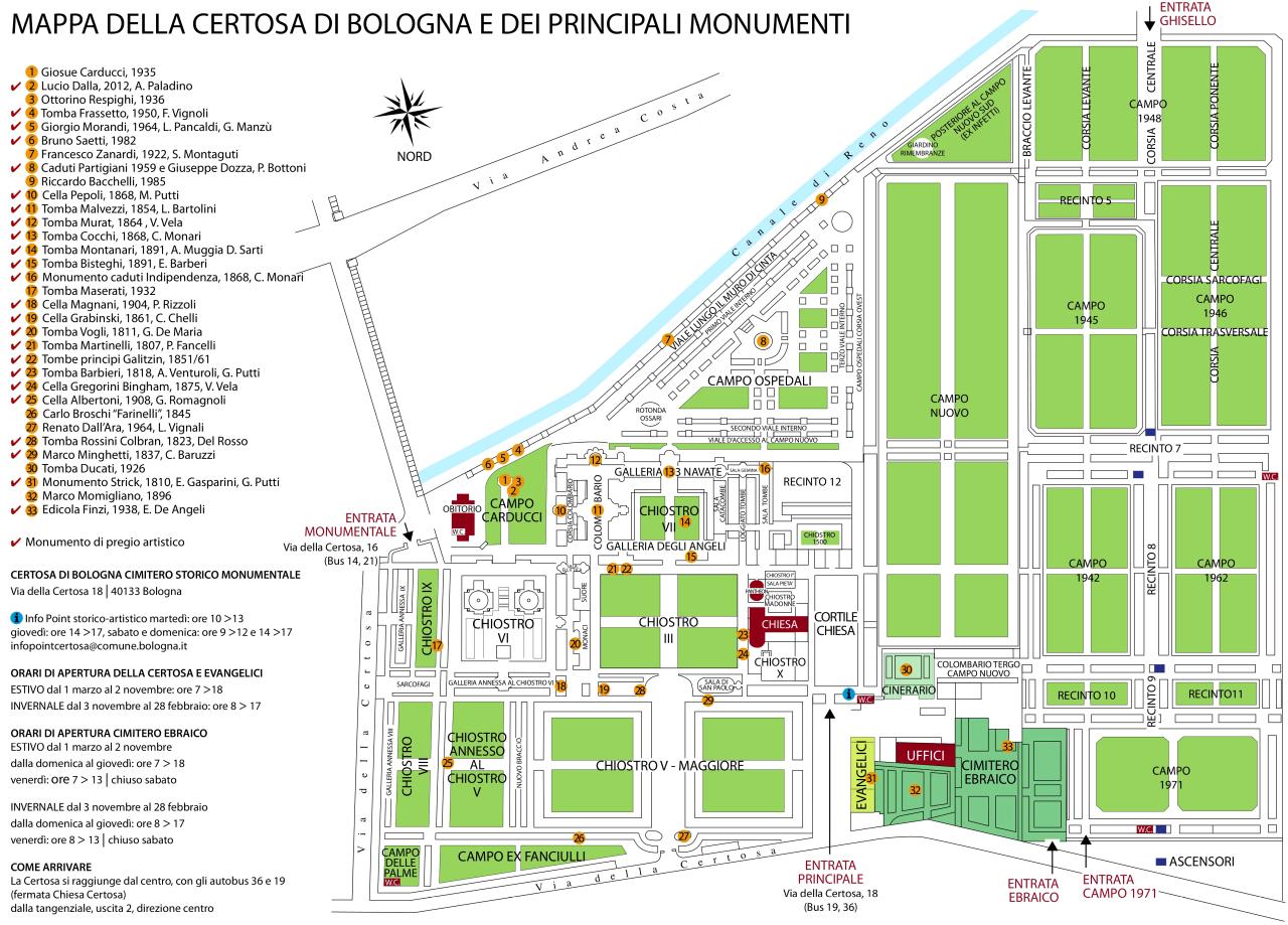 Mappa Certosa di Bologna