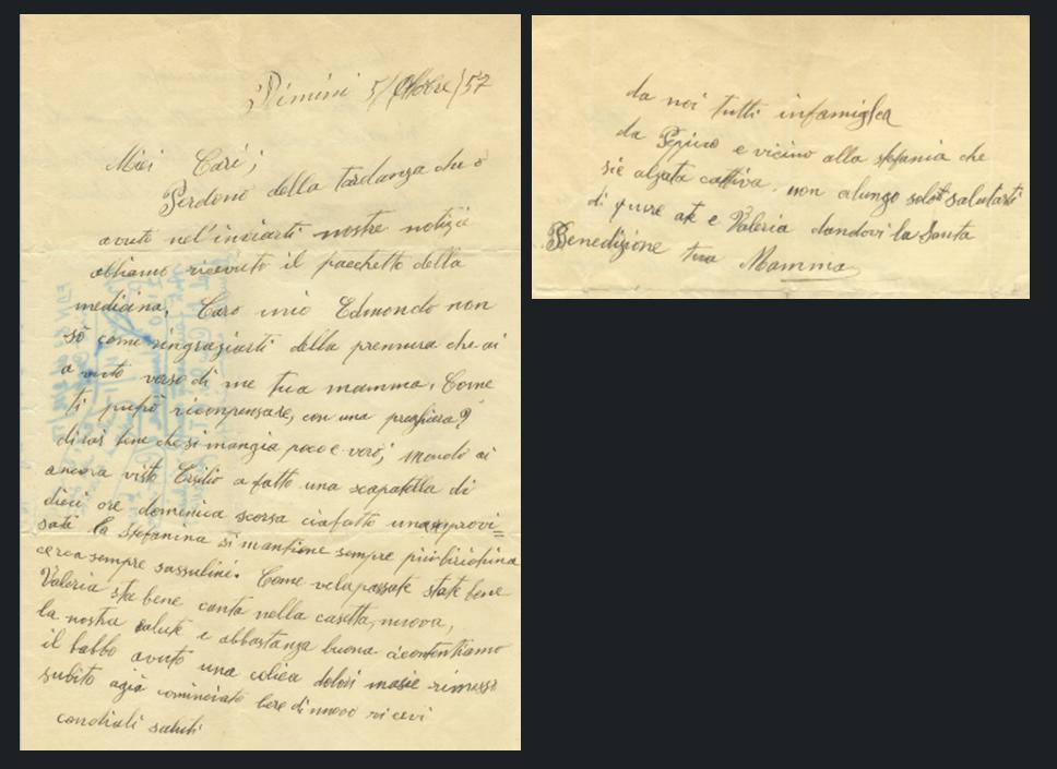 Ultima lettera nonna Tina RN 1957